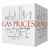 Gas Prices 3D Cube Word Cloud Concept