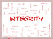 stock photo of conduction  - Integrity Word Cloud Concept on a Whiteboard with great terms such as virtue code conduct and more - JPG
