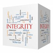 stock photo of conduction  - Integrity 3D cube Word Cloud Concept with great terms such as virtue code conduct and more - JPG