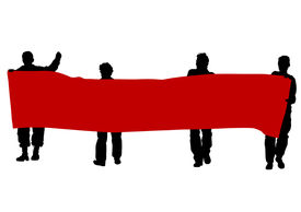stock photo of anarchists  - Anarchists people with large banner - JPG