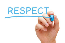 stock photo of respect  - Hand writing Respect with blue marker on transparent wipe board - JPG