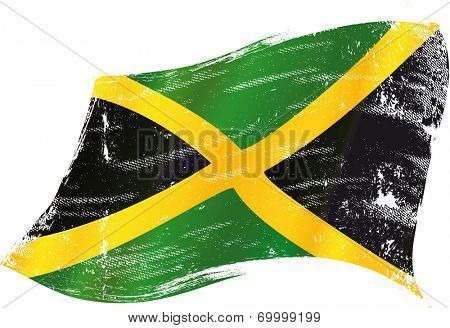 waving jamaican grunge flag A