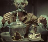 foto of autopsy  - Old fashioned woman in laboratory - JPG