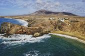 picture of papagayo  - Aerial view of Papagayo beach on island of Lanzarote Canary Islands Spain - JPG