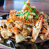 stock photo of cooked blue crab  - Blue crab cooked in traditional Thai style - JPG