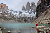 stock photo of pain-tree  - The three Torres in Parque Nacional Torres del Paine Chile - JPG