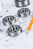 picture of bearings  - Technical drawings with the Ball bearings - JPG