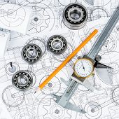 stock photo of ball bearing  - Technical drawings with the Ball bearings - JPG