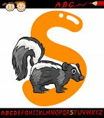 stock photo of skunk  - Cartoon Illustration of Capital Letter S from Alphabet with Skunk Animal for Children Education - JPG