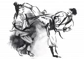 foto of classic art  - An hand drawn converted vector in calligraphic style from series Martial Arts - JPG