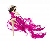 pic of flutter  - Woman dancing in fluttering dress fashion model dancer with waving fabric isolated white background - JPG