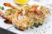 pic of tiger prawn  - grilled prawn skewer - JPG