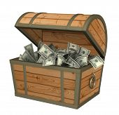 picture of treasure chest  - Wooden box with money  - JPG