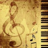 Постер, плакат: Фон с музыкальные символы