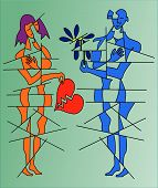 pic of broken heart flower  - a man with a flower in his hand and a woman whit a broken heart in her hand - JPG