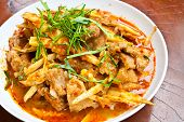 image of pork belly  - Stir Fried Pork Belly and Red Curry Paste with Bamboo Shoots - JPG