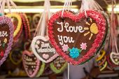 image of funfair  - Gingerbread heart offered at funfair - JPG