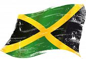 stock photo of jamaican  - waving jamaican grunge flag - JPG
