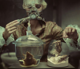 stock photo of autopsy  - Old fashioned woman in laboratory - JPG