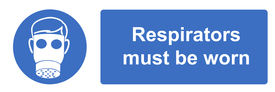 picture of respirator  - A respirators must be worn Health and Safety sign - JPG