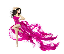 picture of flutter  - Woman dancing in fluttering dress fashion model dancer with waving fabric isolated white background - JPG