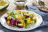 foto of rocket salad  - Avocado with Mango Rocket Walnut and Feta salad by Balsamic dressing - JPG