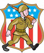 picture of assault-rifle  - Illustration of a World War two American soldier serviceman marching with assault rifle viewed from side set inside shield with American Stars and stripes flag in the background done in cartoon style - JPG