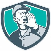 picture of shout  - Illustration of a worker wearing hat shouting with hand in mouth set inside shield crest done in retro style - JPG