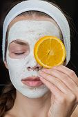 picture of cleanse  - Nourishing Hydrating cleansing mask on the face of the girl - JPG