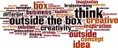 foto of thinking outside box  - Think outside the box word cloud concept - JPG