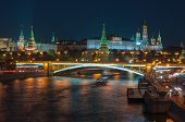 stock photo of bridge  - View of the Moscow Kremlin - JPG