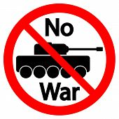 image of panzer  - No war sign on white background - JPG