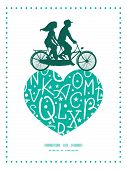 stock photo of tandem bicycle  - Vector white on green alphabet letters couple on tandem bicycle heart silhouette frame pattern greeting card template graphic design - JPG
