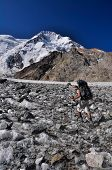 stock photo of shan  - Hiker with backpack on glacier below highest peaks in Tien - JPG