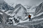 picture of shan  - Adventurous hiker on Engilchek glacier in scenic Tian Shan mountain range in Kyrgyzstan - JPG