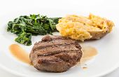 stock photo of sauteed  - Steak beautiffly grilled with deep grill marks on plate with its own juice  - JPG