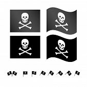 image of buccaneer  - Set of Jolly Roger Flags EPS 10 - JPG