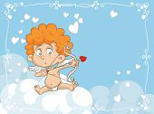 image of ero  - Vector cartoon of a cute cupid angel with bow and arrows - JPG