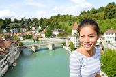 picture of bridge  - Tourist relaxing in Bern during Switzerland travel - JPG