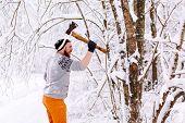 image of ax  - Lumberjack brandishing an ax - JPG