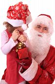image of dwarf  - Santa Claus and dwarf with a gift - JPG