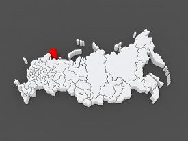stock photo of murmansk  - Map of the Russian Federation - JPG
