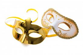 picture of venice carnival  - Two carnival masks isolated on white background - JPG