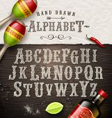 foto of hand alphabet  - Vector hand drawn vintage alphabet  - JPG
