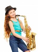 stock photo of saxophones  - Cute happy girl playing alto saxophone on the white background - JPG