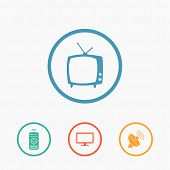 foto of household  - Vector household tv related icons on colored buttons - JPG