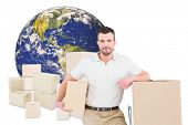 picture of trolley  - Delivery man with trolley of boxes against logistics concept - JPG