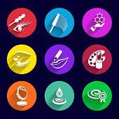 stock photo of foundation  - Cosmetics Icons set illustration lipstick brush foundation female  pencil mascara - JPG