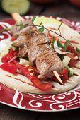 image of pita  - Souvlaki or kebab - JPG