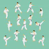 foto of karate  - Group of the men showing karate - JPG